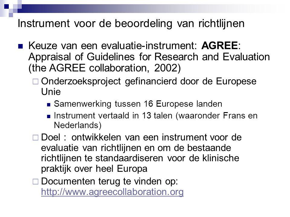 Instrument voor de beoordeling van richtlijnen Keuze van een evaluatie-instrument: AGREE: Appraisal of Guidelines for Research and Evaluation (the AGR