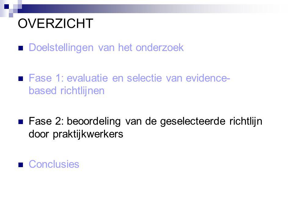 OVERZICHT Doelstellingen van het onderzoek Fase 1: evaluatie en selectie van evidence- based richtlijnen Fase 2: beoordeling van de geselecteerde rich