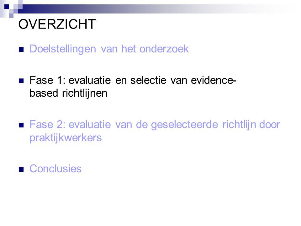 Fase 1: evaluatie en selectie van evidence-based richtlijnen Literatuurstudie van bestaande richtlijnen Beoordeling van de kwaliteit van deze richtlijnen Selectie van één richtlijn