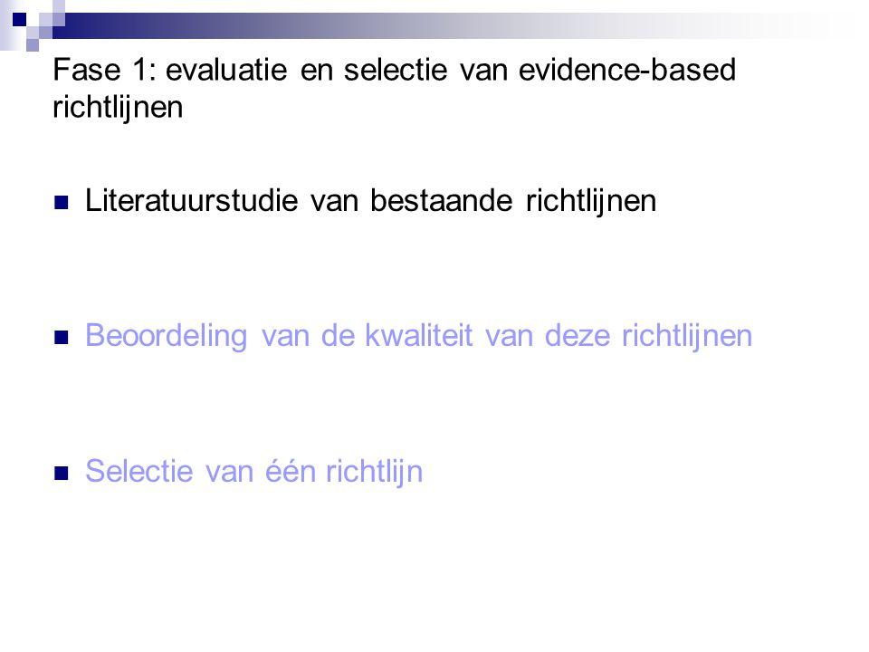Beoordelingsprocedure Afzonderlijke beoordeling, gevolgd door het zoeken van een consensus tussen de 3 beoordelaars Driedubbele codering van 4 richtlijnen (willekeurig gekozen uit de geselecteerde richtlijnen)  Interbeoordelaarscoëfficient (voor 3 richtlijnen > 0.9; voor de 4de = 0.78) Codering door één enkele beoordelaar bij de overige 51 richtlijnen