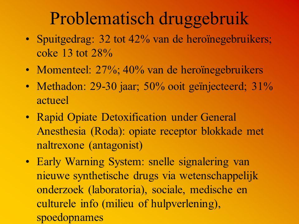Problematisch druggebruik Spuitgedrag: 32 tot 42% van de heroïnegebruikers; coke 13 tot 28% Momenteel: 27%; 40% van de heroïnegebruikers Methadon: 29-