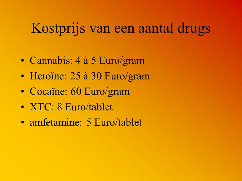 Kostprijs van een aantal drugs Cannabis: 4 à 5 Euro/gram Heroïne: 25 à 30 Euro/gram Cocaïne: 60 Euro/gram XTC: 8 Euro/tablet amfetamine: 5 Euro/tablet