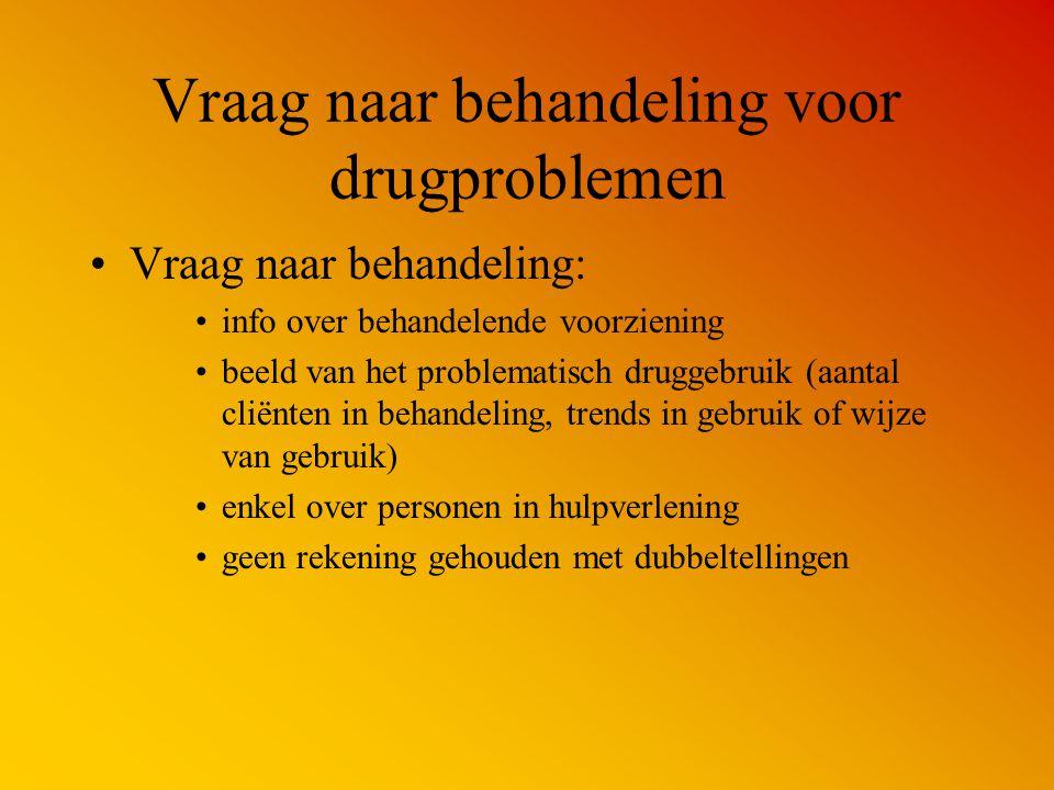 Vraag naar behandeling voor drugproblemen Vraag naar behandeling: info over behandelende voorziening beeld van het problematisch druggebruik (aantal c