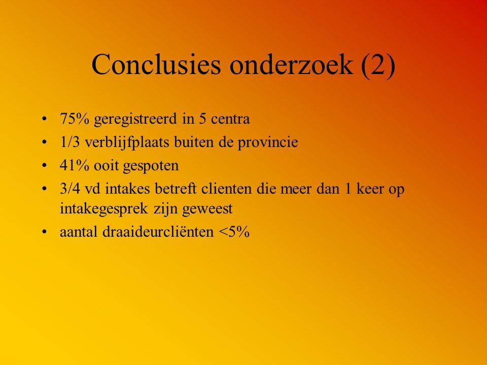 Conclusies onderzoek (2) 75% geregistreerd in 5 centra 1/3 verblijfplaats buiten de provincie 41% ooit gespoten 3/4 vd intakes betreft clienten die me