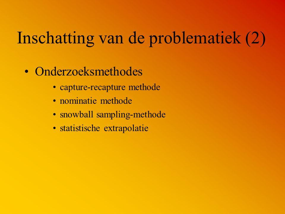 Inschatting van de problematiek (2) Onderzoeksmethodes capture-recapture methode nominatie methode snowball sampling-methode statistische extrapolatie