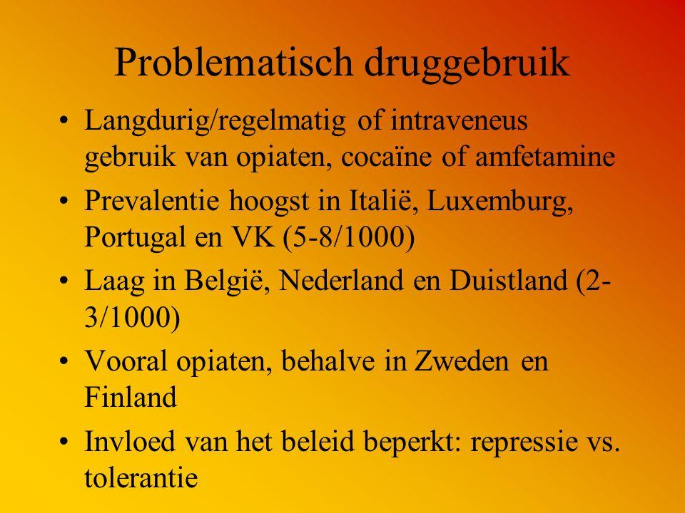 Problematisch druggebruik Langdurig/regelmatig of intraveneus gebruik van opiaten, cocaïne of amfetamine Prevalentie hoogst in Italië, Luxemburg, Port
