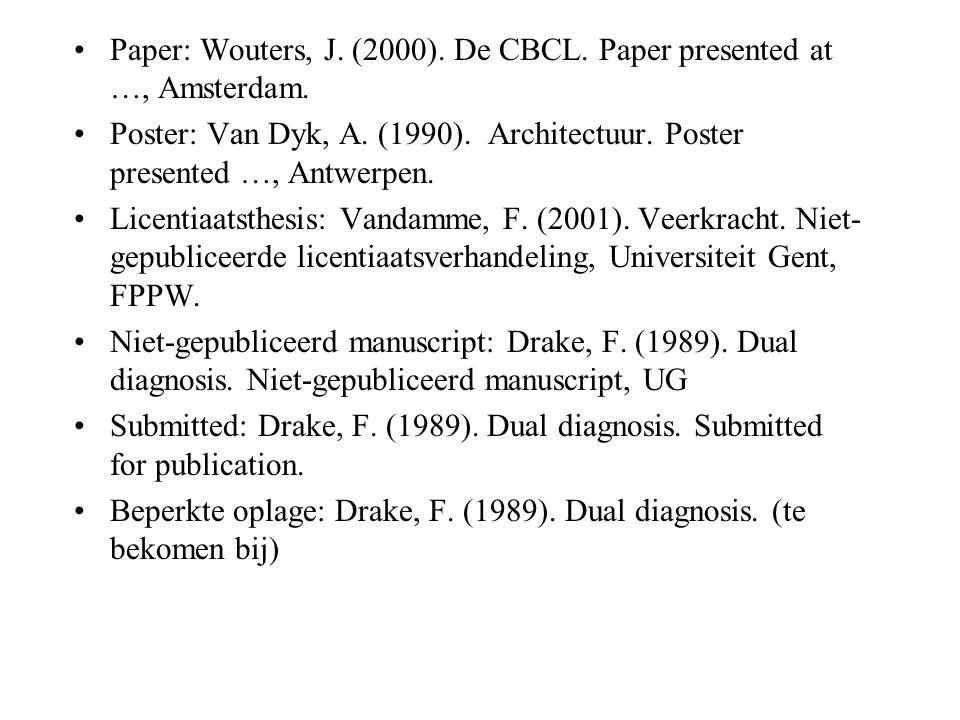 Paper: Wouters, J.(2000). De CBCL. Paper presented at …, Amsterdam.