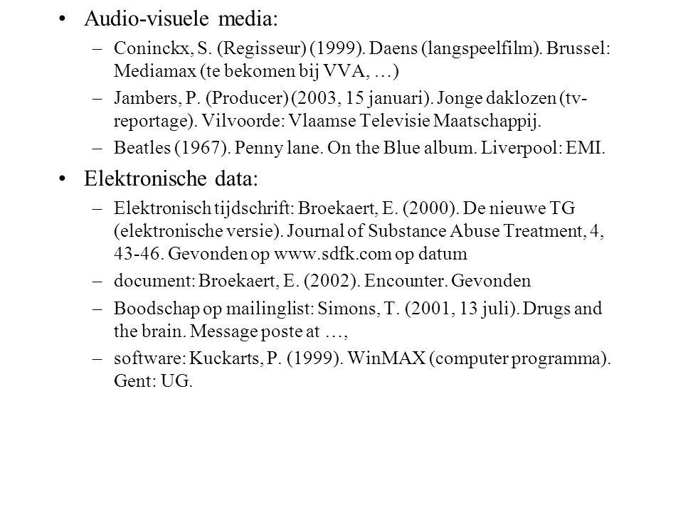 Audio-visuele media: –Coninckx, S. (Regisseur) (1999). Daens (langspeelfilm). Brussel: Mediamax (te bekomen bij VVA, …) –Jambers, P. (Producer) (2003,