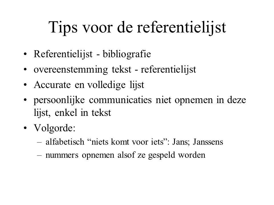Tips voor de referentielijst Referentielijst - bibliografie overeenstemming tekst - referentielijst Accurate en volledige lijst persoonlijke communica