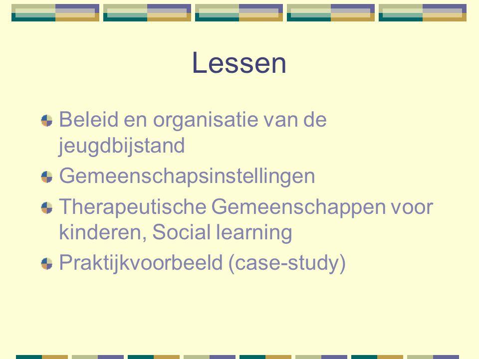 Lessen Beleid en organisatie van de jeugdbijstand Gemeenschapsinstellingen Therapeutische Gemeenschappen voor kinderen, Social learning Praktijkvoorbe