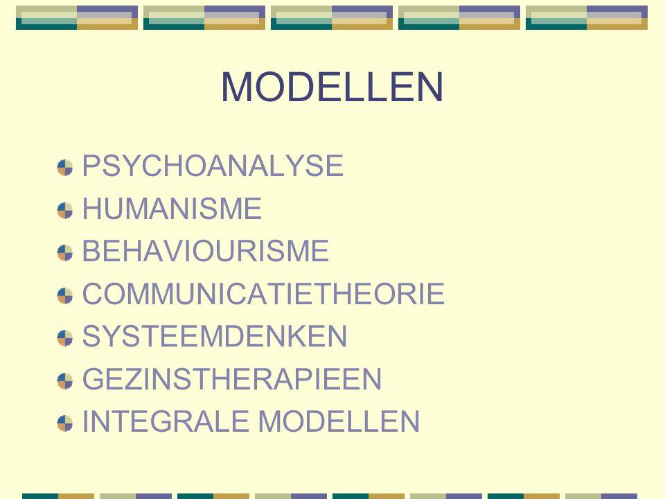 MODELLEN PSYCHOANALYSE HUMANISME BEHAVIOURISME COMMUNICATIETHEORIE SYSTEEMDENKEN GEZINSTHERAPIEEN INTEGRALE MODELLEN