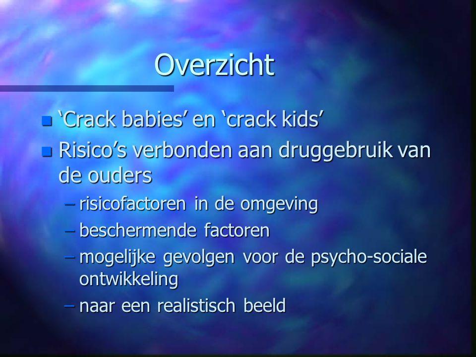 Overzicht n 'Crack babies' en 'crack kids' n Risico's verbonden aan druggebruik van de ouders –risicofactoren in de omgeving –beschermende factoren –m