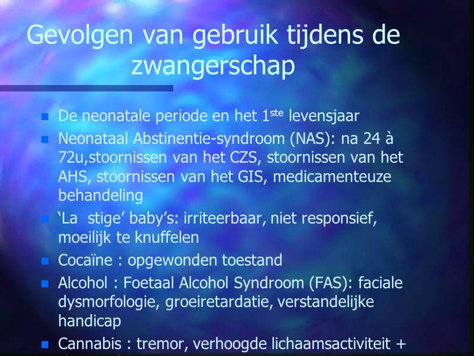 Gevolgen van gebruik tijdens de zwangerschap n n De neonatale periode en het 1 ste levensjaar n n Neonataal Abstinentie-syndroom (NAS): na 24 à 72u,st