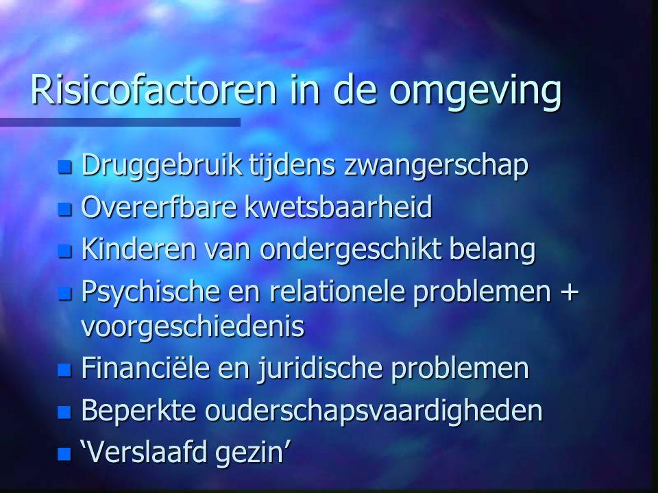 Risicofactoren in de omgeving n Druggebruik tijdens zwangerschap n Overerfbare kwetsbaarheid n Kinderen van ondergeschikt belang n Psychische en relat