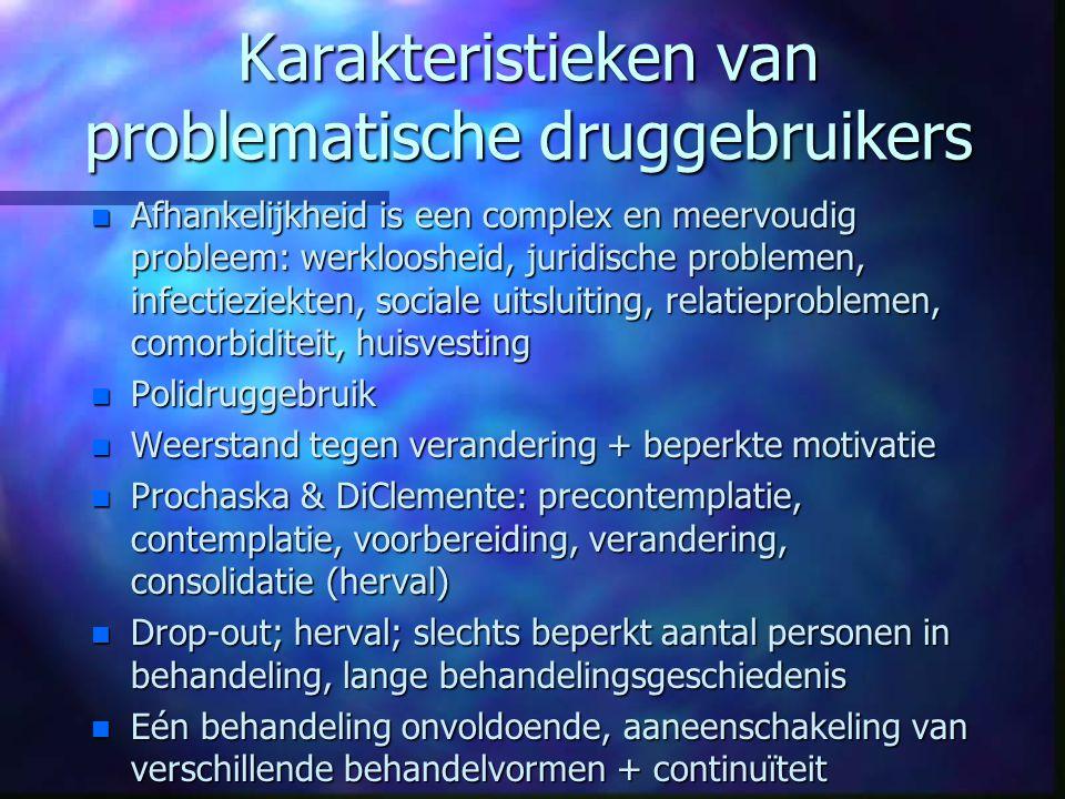 Karakteristieken van problematische druggebruikers n Afhankelijkheid is een complex en meervoudig probleem: werkloosheid, juridische problemen, infect