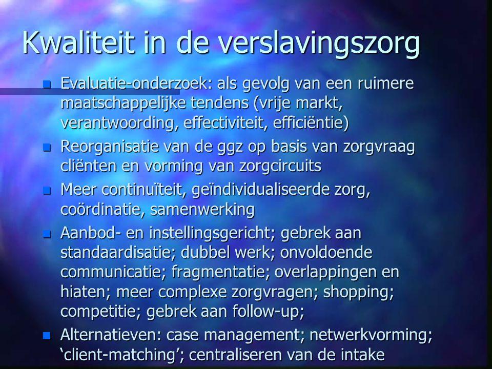Kwaliteit in de verslavingszorg n Evaluatie-onderzoek: als gevolg van een ruimere maatschappelijke tendens (vrije markt, verantwoording, effectiviteit