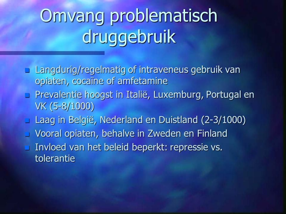 Omvang problematisch druggebruik n Langdurig/regelmatig of intraveneus gebruik van opiaten, cocaïne of amfetamine n Prevalentie hoogst in Italië, Luxe