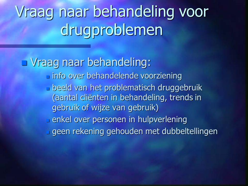 Vraag naar behandeling voor drugproblemen n Vraag naar behandeling: n info over behandelende voorziening n beeld van het problematisch druggebruik (aa