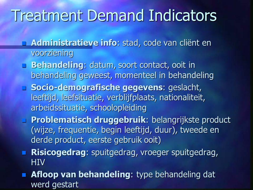 Treatment Demand Indicators n Administratieve info: stad, code van cliënt en voorziening n Behandeling: datum, soort contact, ooit in behandeling gewe