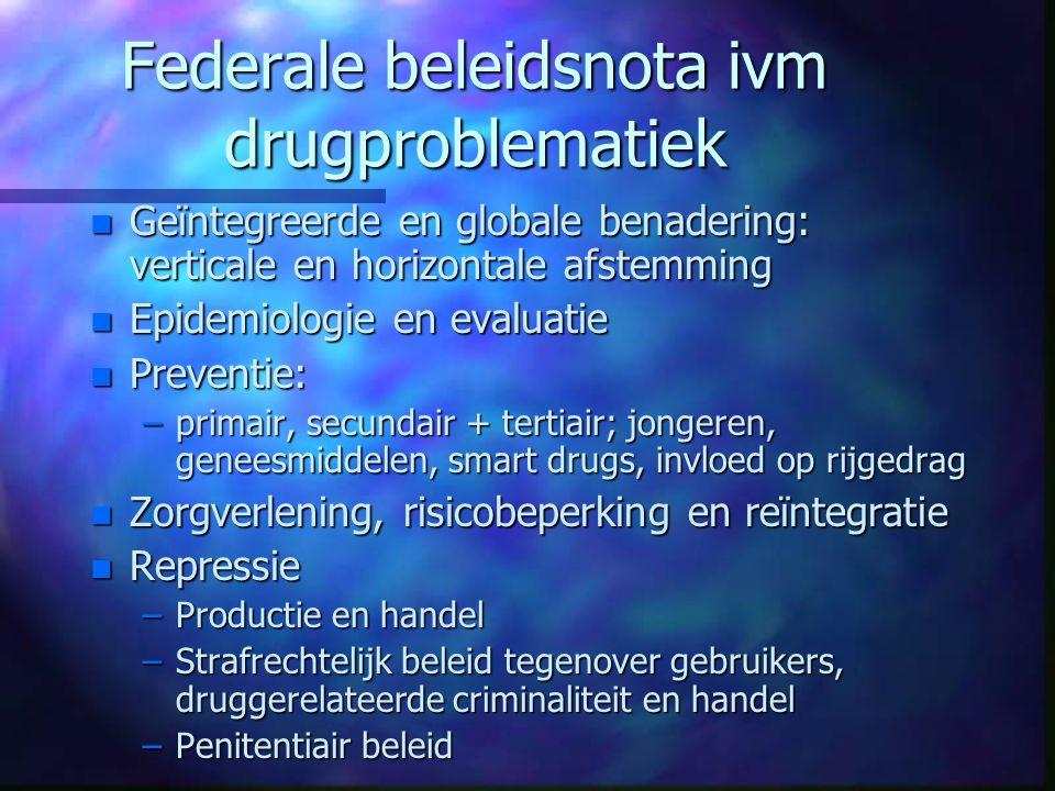 Federale beleidsnota ivm drugproblematiek n Geïntegreerde en globale benadering: verticale en horizontale afstemming n Epidemiologie en evaluatie n Pr
