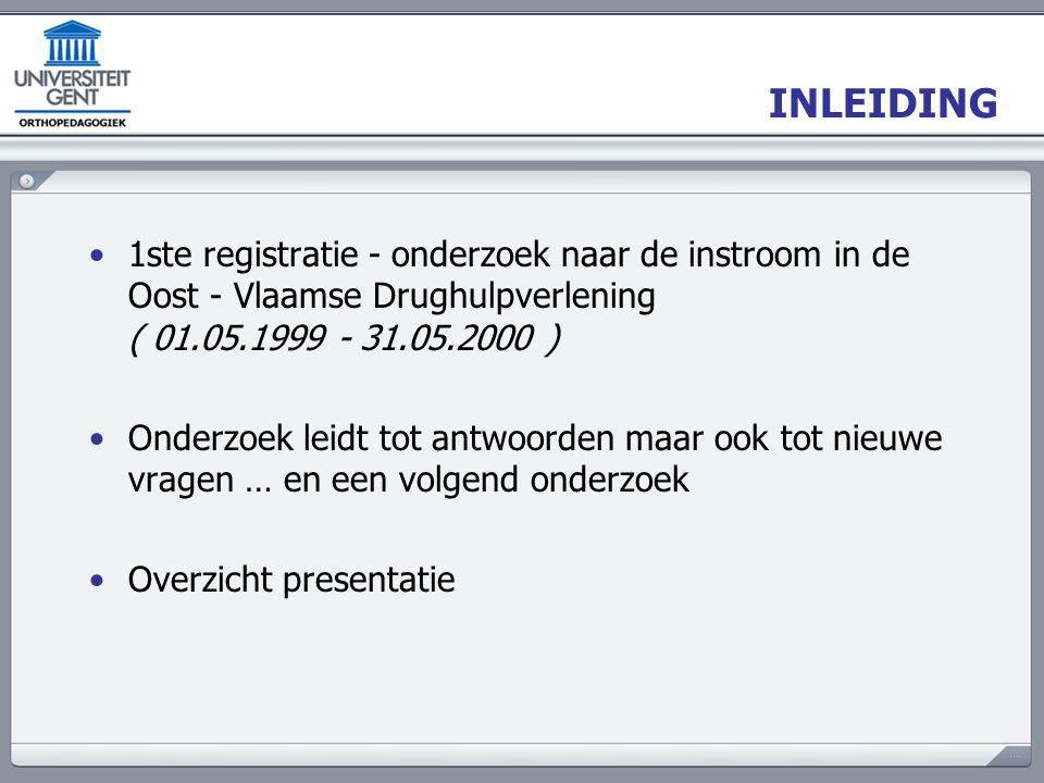 INLEIDING 1ste registratie - onderzoek naar de instroom in de Oost - Vlaamse Drughulpverlening ( 01.05.1999 - 31.05.2000 ) Onderzoek leidt tot antwoor
