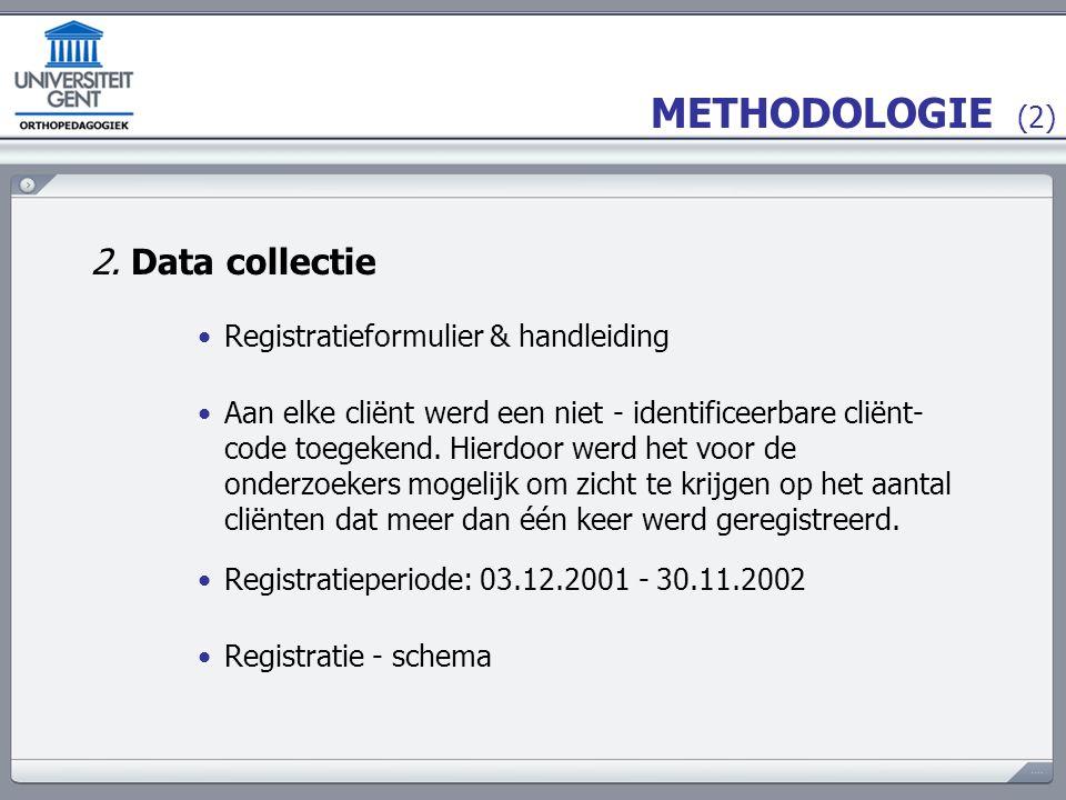 METHODOLOGIE (3) Registratie - schema OPSTART registratie INSTROOM registratie DOORSTROOM registratie UITSTROOM registratie 03.12.200109.12.200131.05.2002 30.11.2002