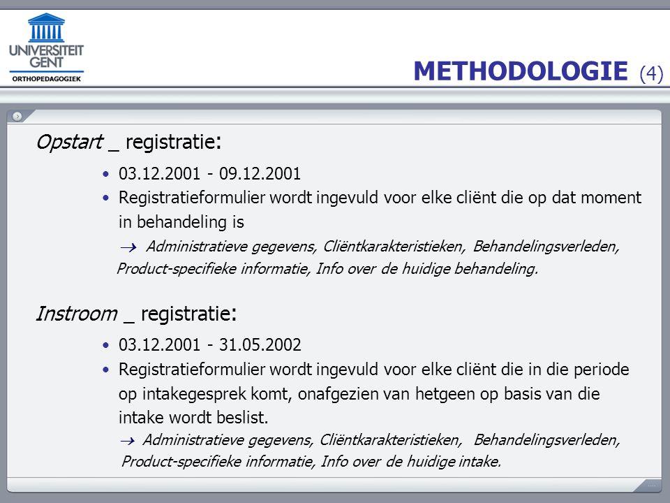 METHODOLOGIE (4) Opstart _ registratie : 03.12.2001 - 09.12.2001 Registratieformulier wordt ingevuld voor elke cliënt die op dat moment in behandeling