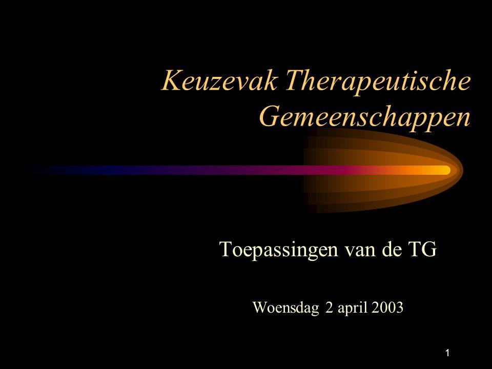 1 Keuzevak Therapeutische Gemeenschappen Toepassingen van de TG Woensdag 2 april 2003