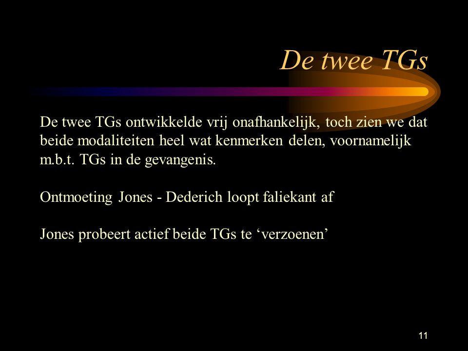11 De twee TGs De twee TGs ontwikkelde vrij onafhankelijk, toch zien we dat beide modaliteiten heel wat kenmerken delen, voornamelijk m.b.t.