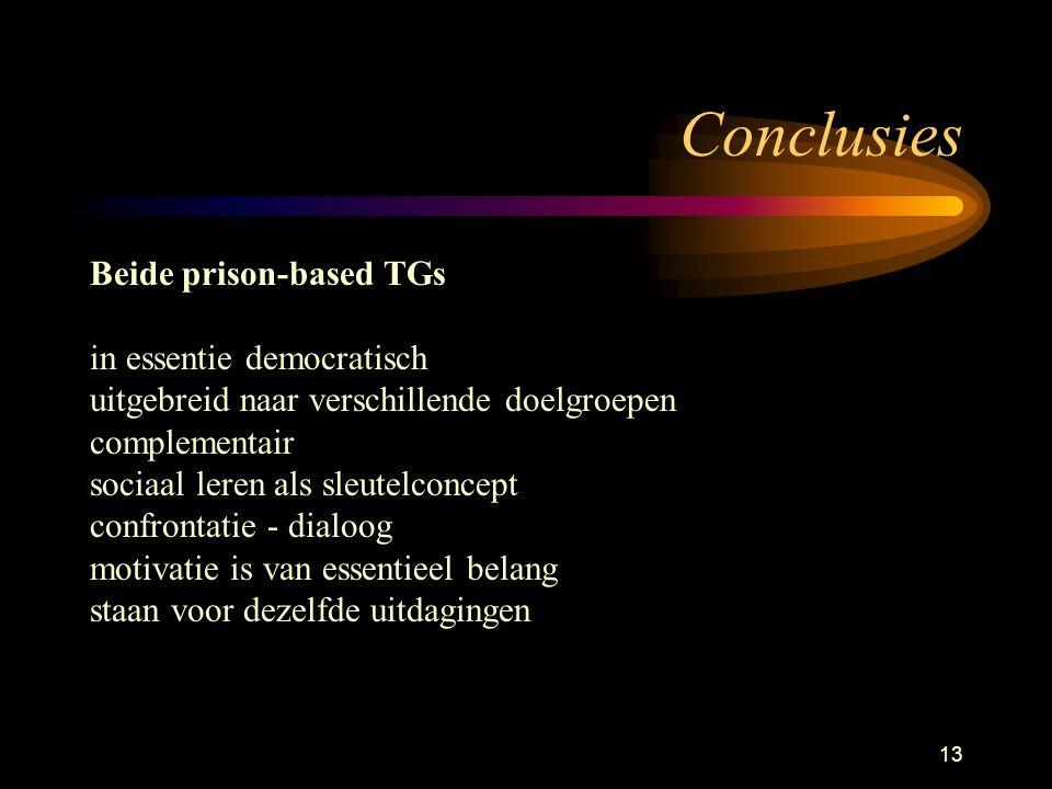 13 Conclusies Beide prison-based TGs in essentie democratisch uitgebreid naar verschillende doelgroepen complementair sociaal leren als sleutelconcept confrontatie - dialoog motivatie is van essentieel belang staan voor dezelfde uitdagingen