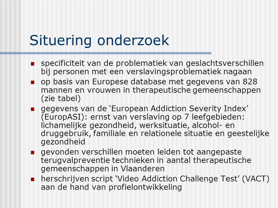 Situering onderzoek specificiteit van de problematiek van geslachtsverschillen bij personen met een verslavingsproblematiek nagaan op basis van Europe