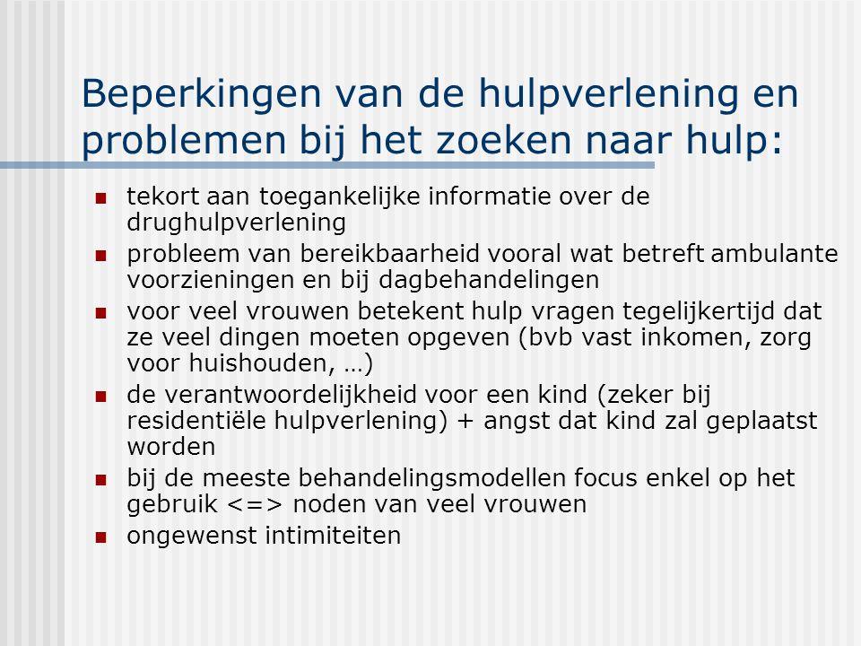 Beperkingen van de hulpverlening en problemen bij het zoeken naar hulp: tekort aan toegankelijke informatie over de drughulpverlening probleem van ber