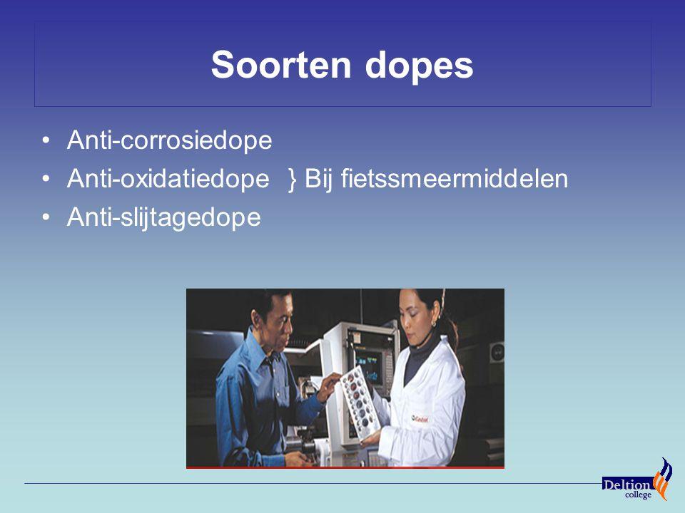 Soorten dopes Anti-corrosiedope Anti-oxidatiedope } Bij fietssmeermiddelen Anti-slijtagedope