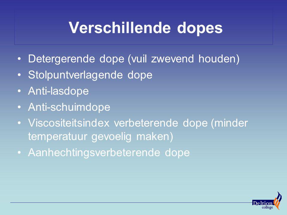 Verschillende dopes Detergerende dope (vuil zwevend houden) Stolpuntverlagende dope Anti-lasdope Anti-schuimdope Viscositeitsindex verbeterende dope (