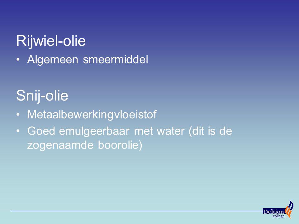 Rijwiel-olie Algemeen smeermiddel Snij-olie Metaalbewerkingvloeistof Goed emulgeerbaar met water (dit is de zogenaamde boorolie)