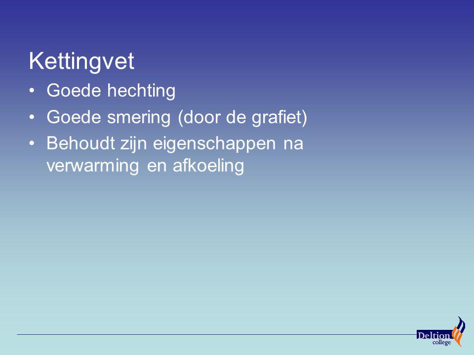 Kettingvet Goede hechting Goede smering (door de grafiet) Behoudt zijn eigenschappen na verwarming en afkoeling