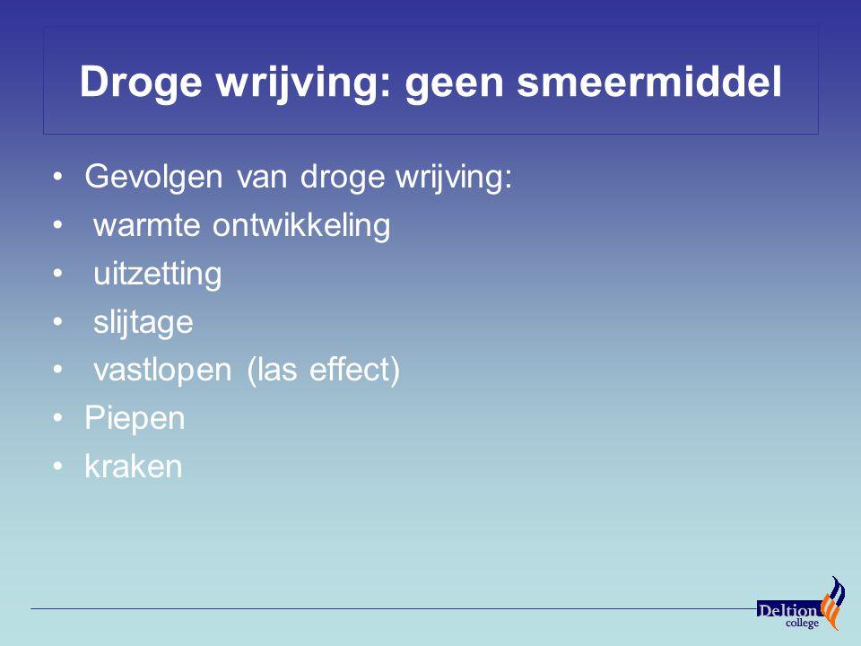 Droge wrijving: geen smeermiddel Gevolgen van droge wrijving: warmte ontwikkeling uitzetting slijtage vastlopen (las effect) Piepen kraken