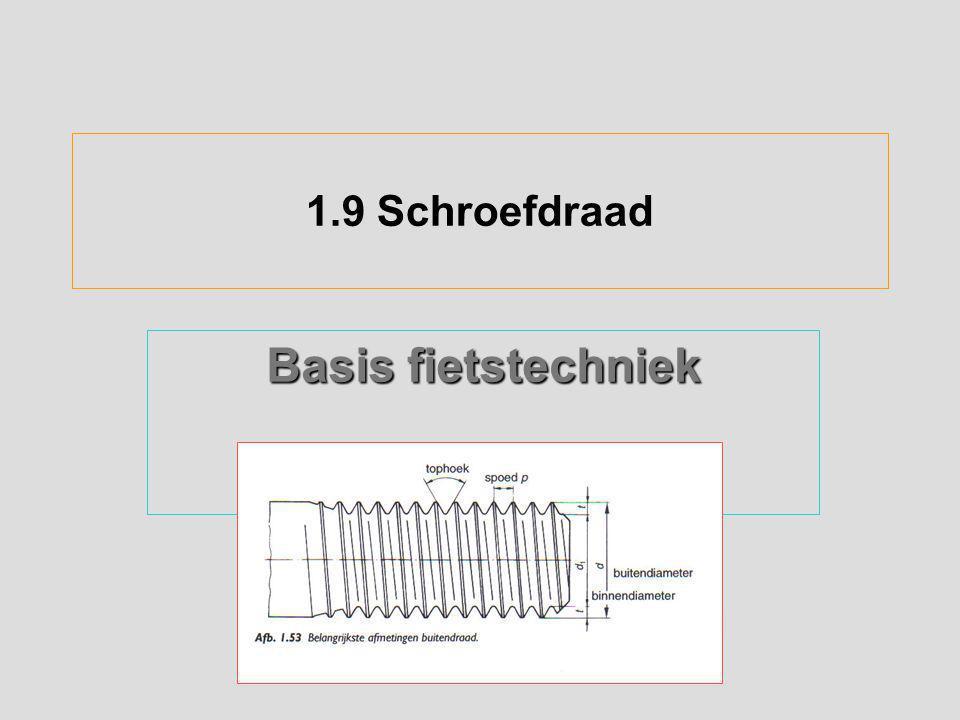 1.12 Momentsleutel en borging van schroefdraad Geschroefde verbindingen met een te klein moment wordt aangedraaid, worden de onderdelen met te weinig kracht op elkaar gedrukt of uitgerekt (bijv.de spaak)