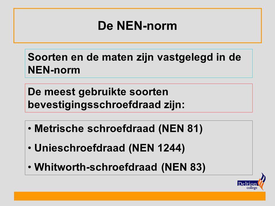 De NEN-norm Soorten en de maten zijn vastgelegd in de NEN-norm De meest gebruikte soorten bevestigingsschroefdraad zijn: Metrische schroefdraad (NEN 8
