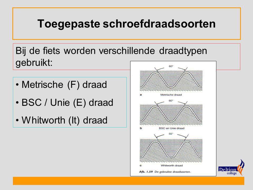 Toegepaste schroefdraadsoorten Bij de fiets worden verschillende draadtypen gebruikt: Metrische (F) draad BSC / Unie (E) draad Whitworth (It) draad