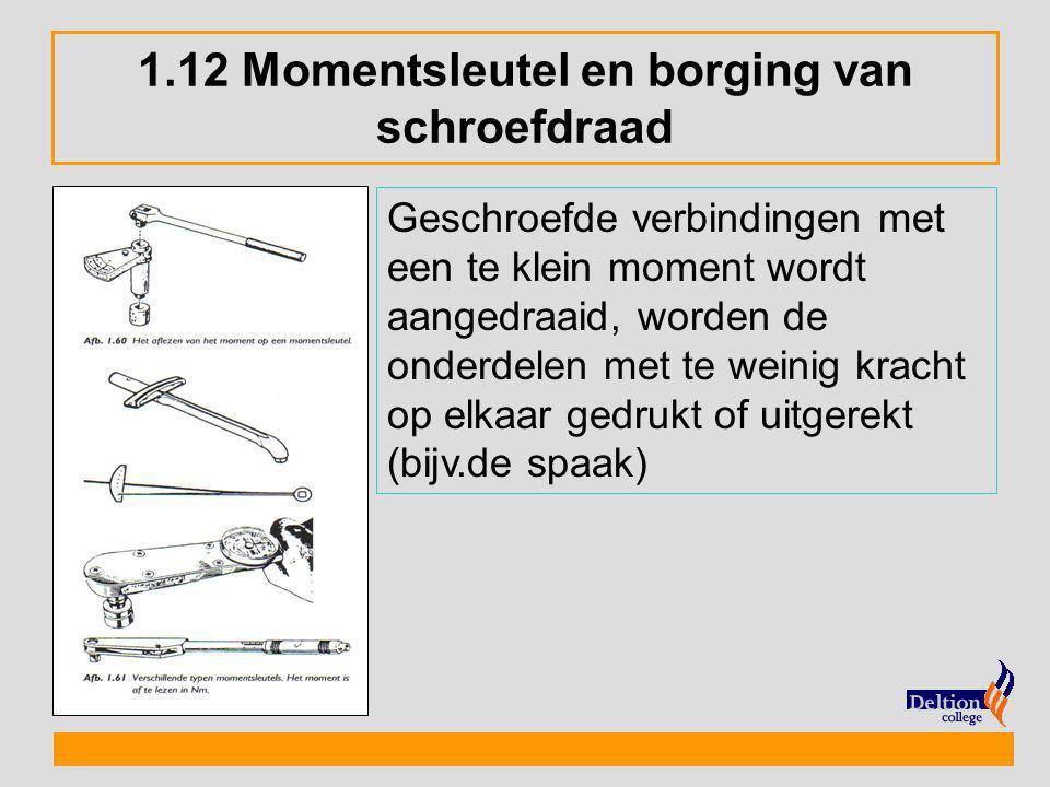 1.12 Momentsleutel en borging van schroefdraad Geschroefde verbindingen met een te klein moment wordt aangedraaid, worden de onderdelen met te weinig