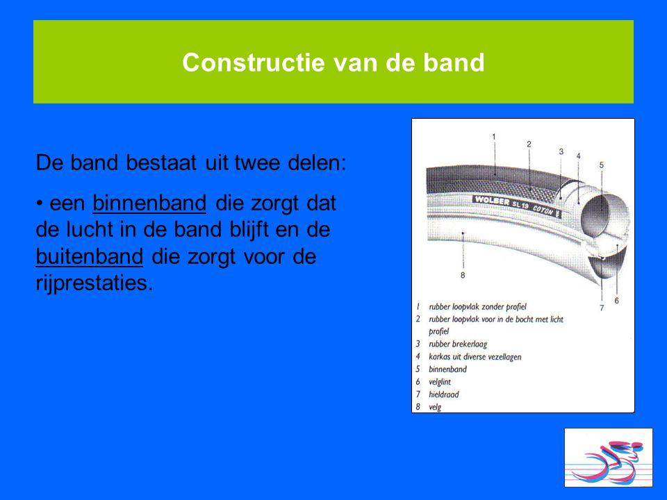 Constructie van de band De band bestaat uit twee delen: een binnenband die zorgt dat de lucht in de band blijft en de buitenband die zorgt voor de rij