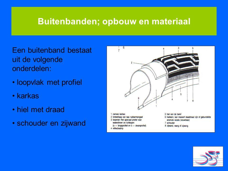 Buitenbanden; opbouw en materiaal Een buitenband bestaat uit de volgende onderdelen: loopvlak met profiel karkas hiel met draad schouder en zijwand