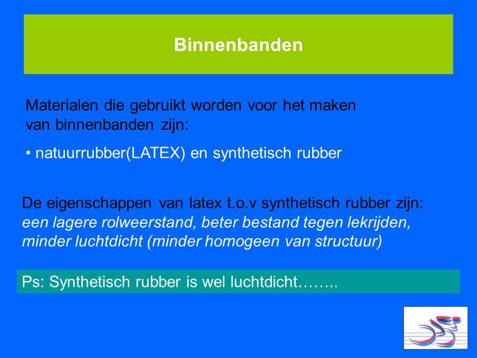 Binnenbanden Materialen die gebruikt worden voor het maken van binnenbanden zijn: natuurrubber(LATEX) en synthetisch rubber De eigenschappen van latex