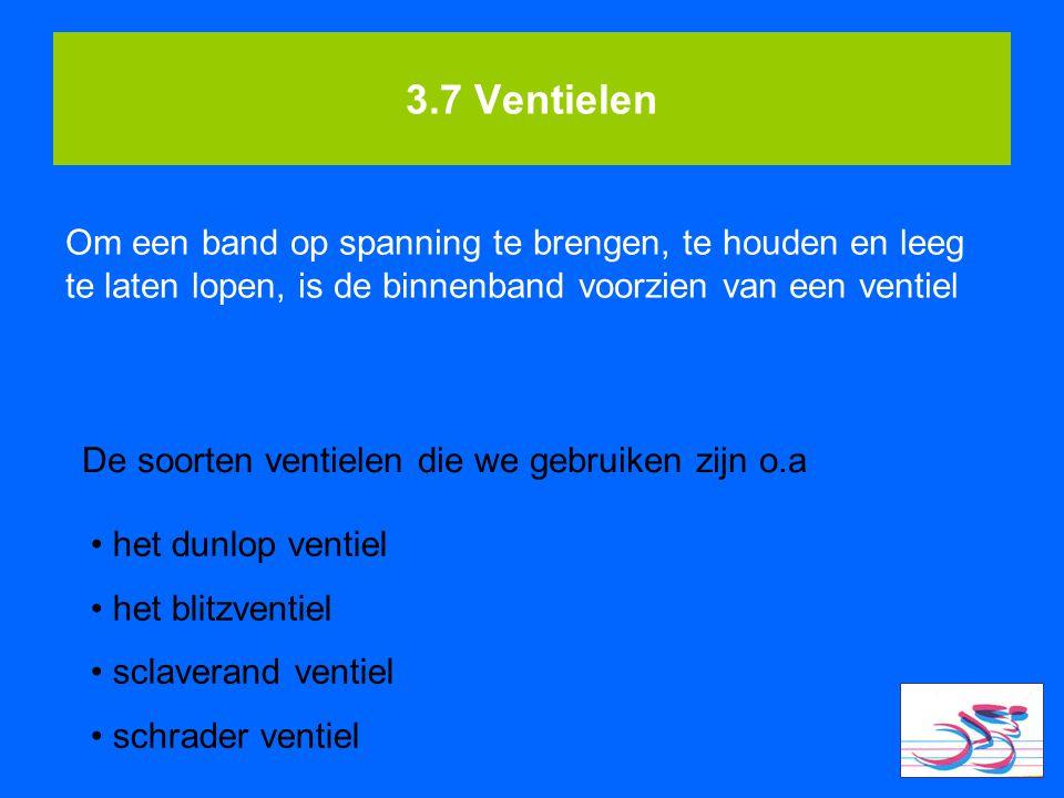 3.7 Ventielen Om een band op spanning te brengen, te houden en leeg te laten lopen, is de binnenband voorzien van een ventiel De soorten ventielen die