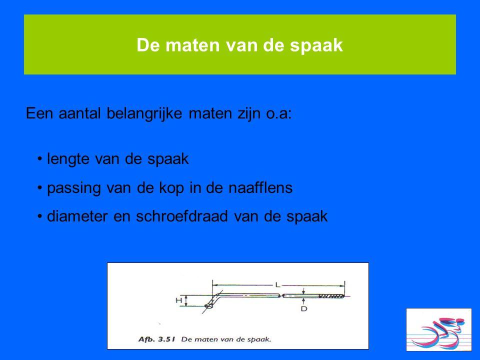 De maten van de spaak Een aantal belangrijke maten zijn o.a: lengte van de spaak passing van de kop in de naafflens diameter en schroefdraad van de sp
