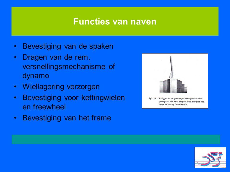 Functies van naven Bevestiging van de spaken Dragen van de rem, versnellingsmechanisme of dynamo Wiellagering verzorgen Bevestiging voor kettingwielen
