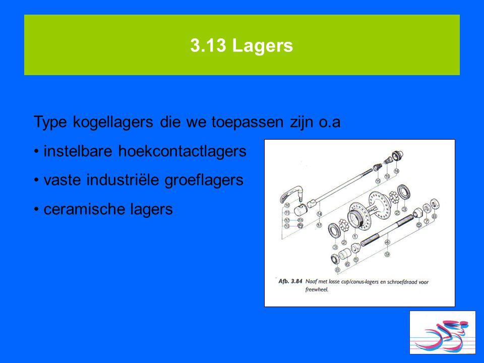 3.13 Lagers Type kogellagers die we toepassen zijn o.a instelbare hoekcontactlagers vaste industriële groeflagers ceramische lagers
