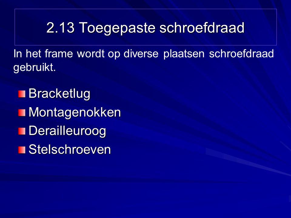 2.13 Toegepaste schroefdraad BracketlugMontagenokkenDerailleuroogStelschroeven In het frame wordt op diverse plaatsen schroefdraad gebruikt.