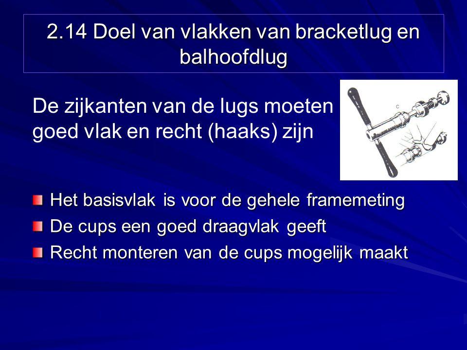 2.14 Doel van vlakken van bracketlug en balhoofdlug Het basisvlak is voor de gehele framemeting De cups een goed draagvlak geeft Recht monteren van de